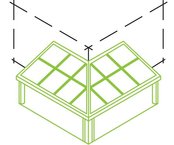 Schüco glass pulttak hjørneløsning tegning