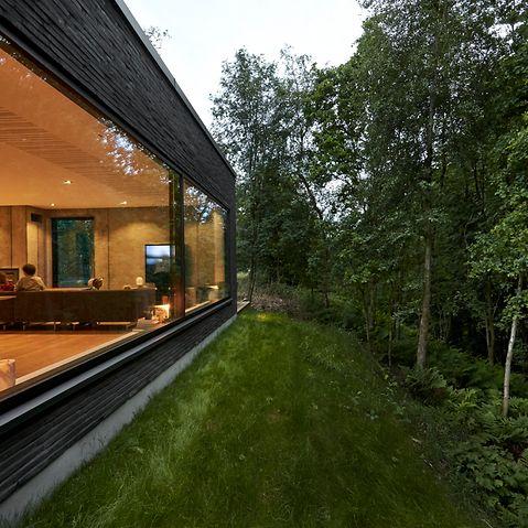 hytte med Schüco panorama vinduer