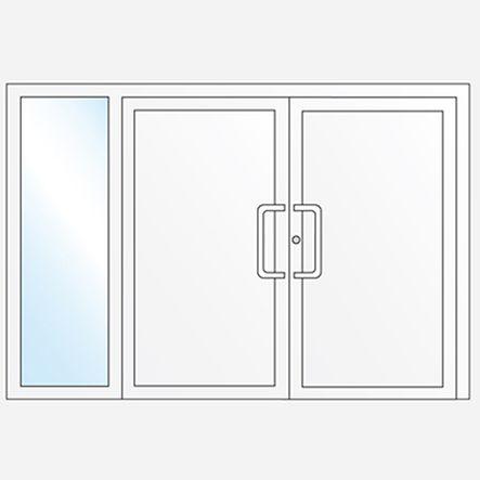 2 vantaux avec panneaux et une partie latérale fixe vitrée
