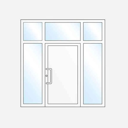 Einflügelige Haustür mit zwei Seitenteilen und Oberlicht
