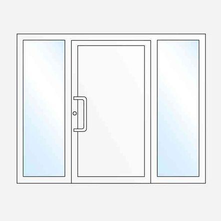 Einflügelige Haustür mit zwei Seitenteilen