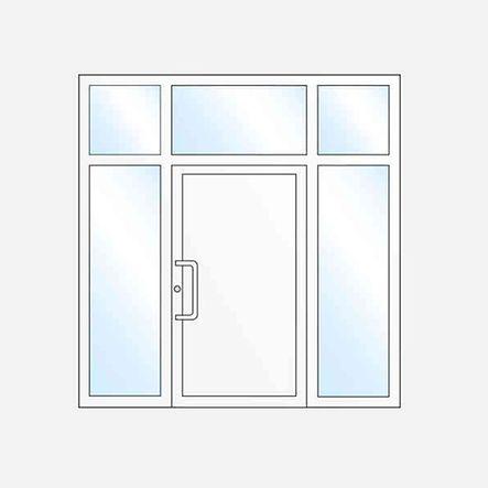 Jednokrídlovévchodové dvere sdvomabočnými svetlíkmia horným svetlíkom