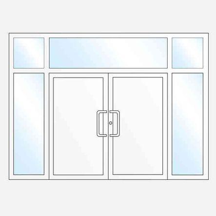 Dvojkrídlovévchodové dveresbočnými a hornými svetlíkmi