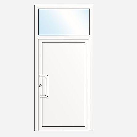 Porte composée : imposte vitrée et panneau décoratif