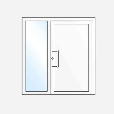 Sol veya sağ yan sabit camlı tek kanatlı ön kapı