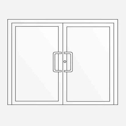 Dvoukřídlé vchodové dveře, možno též ve variantě s bočními světlíky a nadsvětlíkem