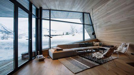 Schüco glassfasade, Black Lodge Fjellsetra