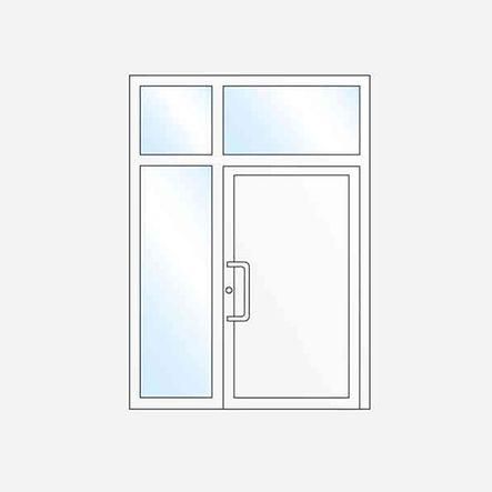 Einflügelige Haustür mit Seitenteil und Oberlicht