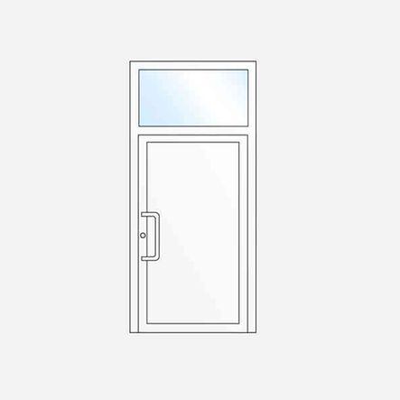 Single-leaf entrance door with toplight