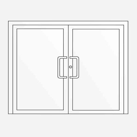 Double-leaf entrance door, can also be constructed with sidelights and toplight